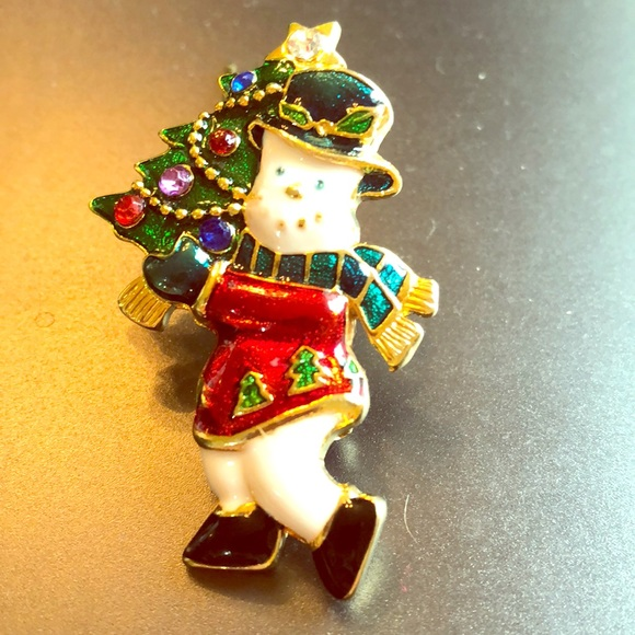 CHRISTOPHER RADKO SHINY BRITE SANTA BROOCH PIN PENDANT ENAMEL CRYSTALS CHRISTMAS